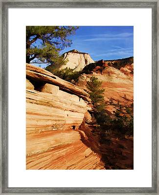 Rock Of Sandstone Sky Of Blue At Zion National Park Framed Print by Elaine Plesser