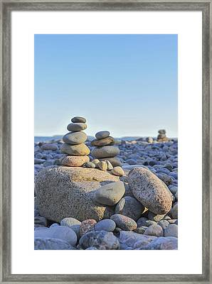 Rock Piles Zen Stones Little Hunters Beach Maine Framed Print by Terry DeLuco