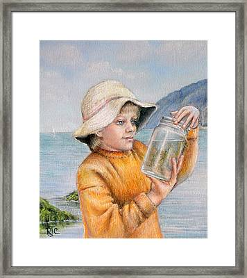 Framed Print featuring the painting Rock-pooling by Rosemary Colyer