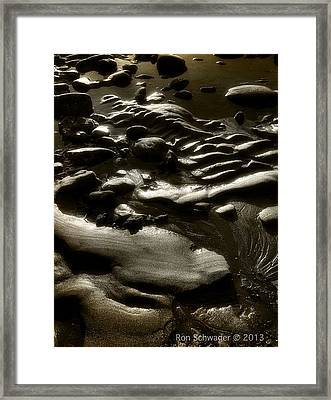 Rock Sand Water Light Framed Print by Ron Schwager