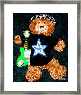 Rock Star Teddy Bear Framed Print by Gail Matthews