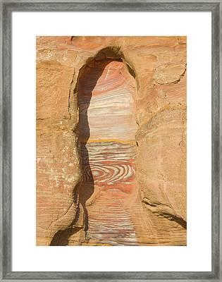 Rock Texture Of Cave Wall, Petra, Jordan Framed Print by Keren Su