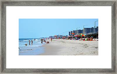 Rockaway Beach And Boardwalk Summer 2012 Framed Print