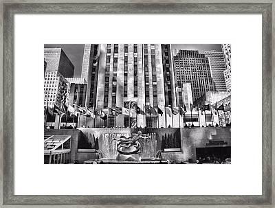 Rockefeller Center Black And White Framed Print