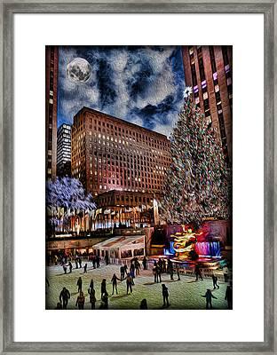 Rockefeller Center By Moonlight Framed Print