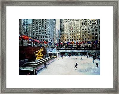 Rockefeller Center Ice Skaters Nyc Framed Print