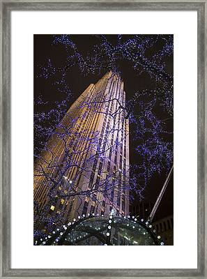 Rockefeller Center Night Lights Framed Print