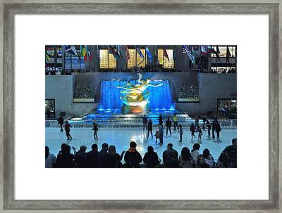 Rockefeller Center Skating Rink Framed Print by Allen Beatty