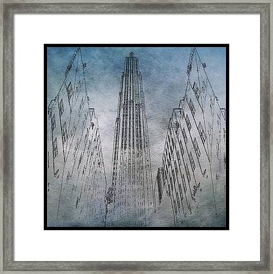 Ge Building Facade Sketch Framed Print by Dan Sproul