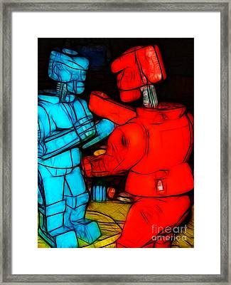 Rockem Sockem Robots - Color Sketch Style - Version 1 Framed Print by Wingsdomain Art and Photography