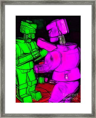 Rockem Sockem Robots - Color Sketch Style - Version 2 Framed Print by Wingsdomain Art and Photography