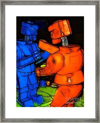 Rockem Sockem Robots - Color Sketch Style - Version 3 Framed Print by Wingsdomain Art and Photography