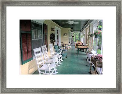 Rockers On The Porch Framed Print by Gordon Elwell