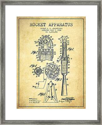 Rocket Apparatus Patent From 1914-vintage Framed Print by Aged Pixel