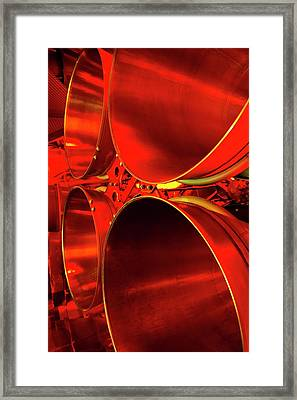 Rocket Engine Nozzles. Framed Print by Mark Williamson