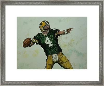 Framed Print featuring the painting Rocket Favre by Dan Wagner