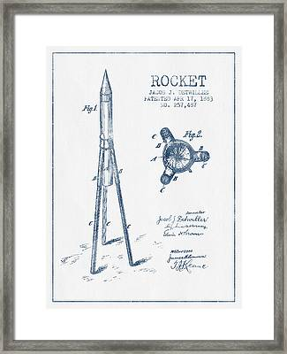 Rocket Patent Drawing From 1883 - Blue Ink Framed Print by Aged Pixel
