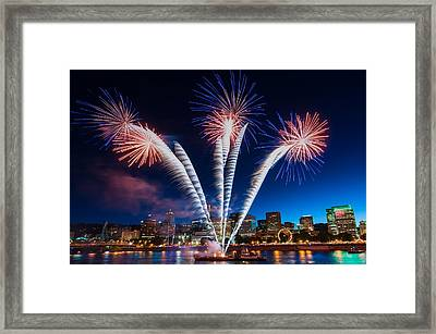 Framed Print featuring the photograph Rockets Red Glare by Brian Bonham
