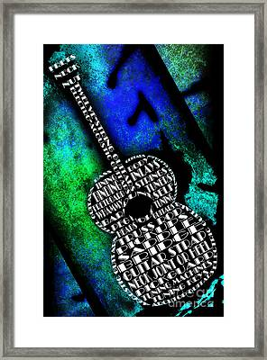 Rockin Guitar In Blue And Green Framed Print