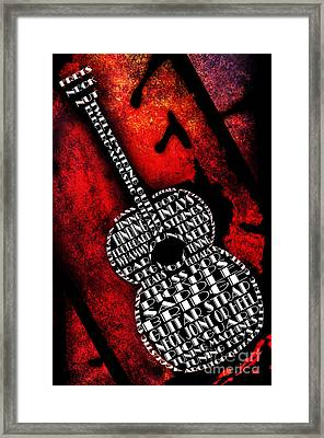 Rockin Guitar In Red Typography Framed Print by Andee Design