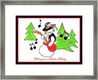Framed Print featuring the drawing Rockin' Holiday Snowman by Chris Fraser