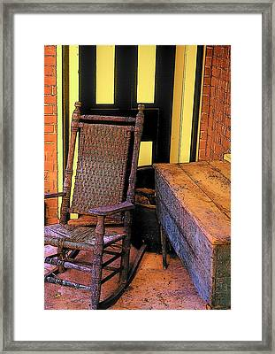 Rocking Chair And Woodbox Framed Print by Rodney Lee Williams