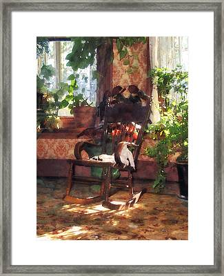 Rocking Chair In Victorian Parlor Framed Print by Susan Savad
