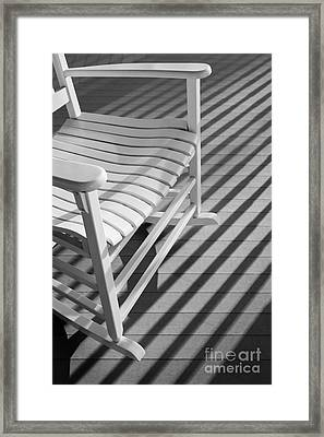 Rocking Chair On The Porch Framed Print by Diane Diederich