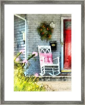 Rocking Chair With Pink Pillow Framed Print by Susan Savad