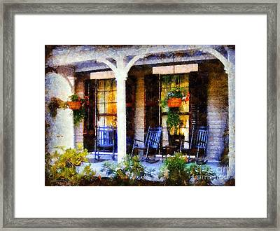 Rocking Chairs On A Country Porch  Framed Print by Janine Riley