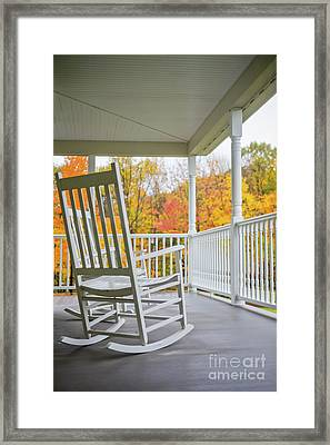 Rocking Chairs On A Porch In Autumn Framed Print by Diane Diederich