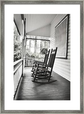 Rocking Chairs On Porch Framed Print by Rebecca Brittain