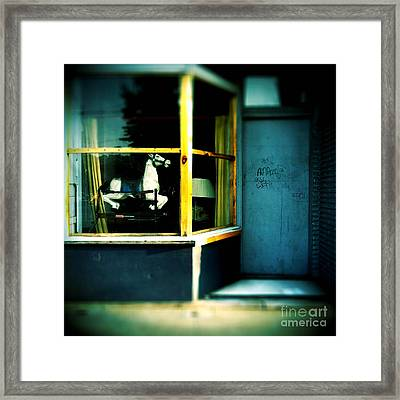 Rocking Horse In Window Framed Print by Amy Cicconi