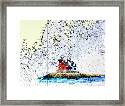Rockland Breakwater Light Framed Print by Mike Robles