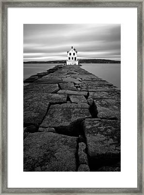 Rockland Breakwater Light Framed Print by Patrick Downey