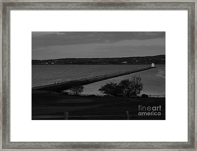 Rockland Breakwater Lighthouse  - Black And White Framed Print