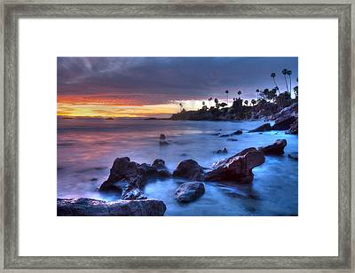 Rockpile Beach Moodscape Framed Print by Cliff Wassmann