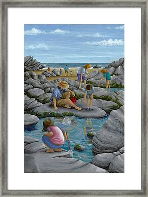 Rockpooling Framed Print by Peter Adderley