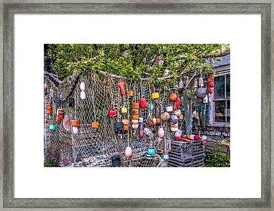 Rockport Fishing Net And Buoys Framed Print by Susan Candelario
