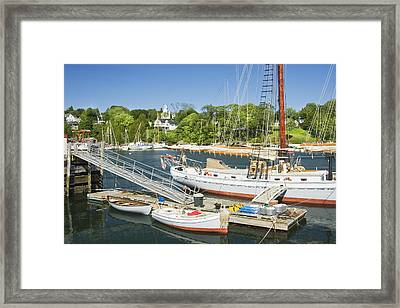 Rockport Harbor And Boats On The Coast Of Maine Framed Print by Keith Webber Jr