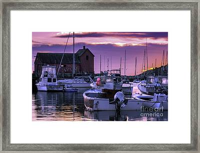 Rockport Harbor At Sunrise - Open Edition Framed Print by Thomas Schoeller