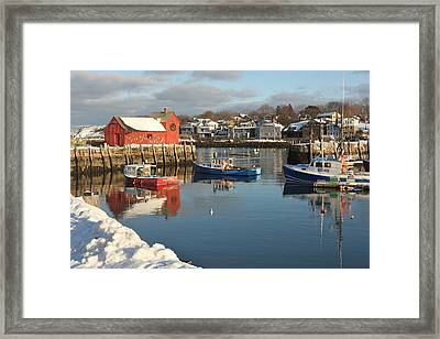 Rockport Harbor In Winter Framed Print by Gail Maloney