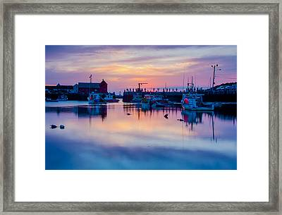 Framed Print featuring the photograph Rockport Harbor Sunrise Over Motif #1 by Jeff Folger