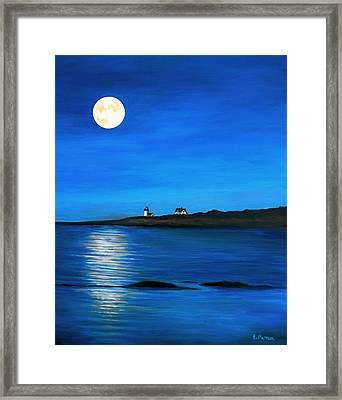 Rockport Harvest Moon Framed Print by Eileen Patten Oliver