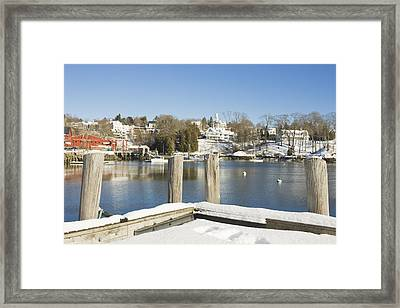 Rockport In Winter On The Coast Of Maine Framed Print