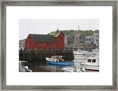 Rockport Inner Harbor With Lobster Fleet And Motif No.1 Framed Print