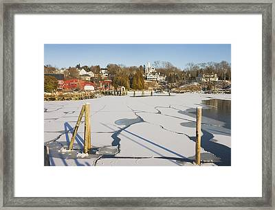 Rockport Maine In Winter Framed Print by Keith Webber Jr