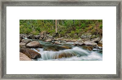 Rocks And Rapids Framed Print by Mark Lucey