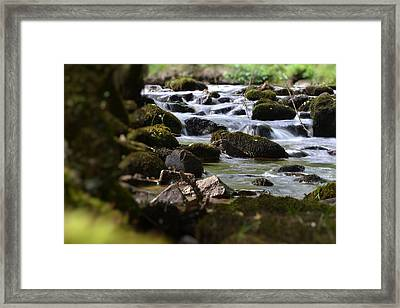 Rocks And The River Framed Print by Dave Woodbridge