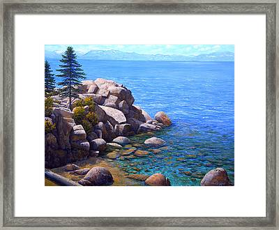 Rocks And Water Lake Tahoe Framed Print by Frank Wilson